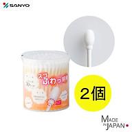 Hộp 110 chiếc tăm bông cao cấp Nhật Bản Sanyo Swab 100% Bông gòn tự nhiên kháng khuẩn an toàn cho bé thumbnail