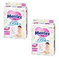 Bộ 2 gói bỉm dán Merries Size M64 mềm mịn, thấm hút nhanh (6-10kg) 64 miếng - Hàng nội địa Nhật thumbnail