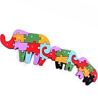 Tranh Ghép Gỗ Cần Cẩu tác dụng 5 trong 1 tư duy lắp ghép, học chữ, học số, học màu, học nhận biết con voi thumbnail