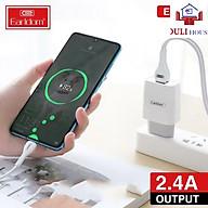 Bộ Sạc Nhanh 2.4A, 2 cổng USB, chống cháy nổ, độ bền cao, tiết kiệm thời gian sạc, hàng chính hãng thumbnail