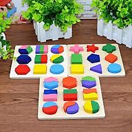 Đồ chơi gỗ ghép hình học gỗ - đồ chơi an toàn trí tuệ cho bé thumbnail