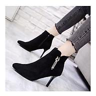 Giày boot nữ cao gót da lộn phong cách Hàn Quốc cao 9cm B149 thumbnail