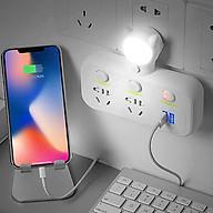 Ổ cắm điện đa năng kiêm đèn ngủ và 2 cổng sạc usb loại mới cao cấp.( Màu ngẫu nhiên ) thumbnail