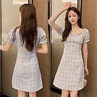 Đầm Ôm Dáng Cổ Vuông Sọc Caro Phong Cách Retro Thời Trang Pháp - MSP D07A thumbnail