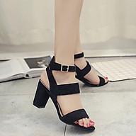 Giày cao gót sandal 7 phân 2 quai bản lớn đen thumbnail