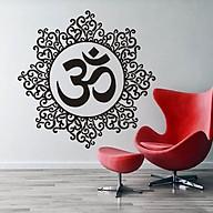Decal dán tường hình bông hoa chữ OM thanh tịnh thumbnail