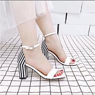 Giày cao gót sandal 7 phân gót sọc LT (SD078) thumbnail