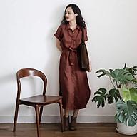 Đầm suông sơ mi linen trẻ trung ArcticHunter, thời trang thương hiệu chính hãng - Nâu thumbnail