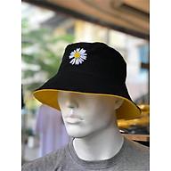Nón bucket Nón vành hoa cúc đội được 2 mặt vải cotton 2 lớp dày dặn đen vàng thumbnail