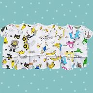 Bộ cotton giấy cộc tay chui đầu cho bé 2-13kg chất thun co giãn thông thoáng - BVN002 thumbnail