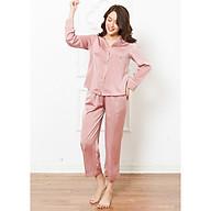Đồ ngủ mặc nhà nữ Freedy Bộ dài tay lụa ngọc trai hồng thumbnail
