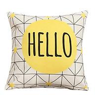 Vỏ Gối tựa lưng sofa xanh vàng Hello thumbnail