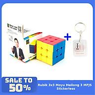 Combo Rubik 3x3 MoYu Mini 4.5cm MF3RS Rubic Stickerless Không Viền kèm móc khóa TTH thumbnail
