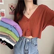 Áo khoác len cadigan nữ dài tay dáng croptop thumbnail