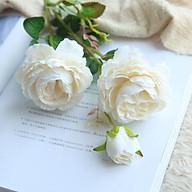 Cành hoa hồng giả lụa cao cấp - hoa giả trang trí thumbnail