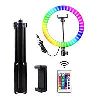Đèn vòng selfie với hệ thống đèn LED RGB có thể điều chỉnh tích hợp giá đỡ kết nối điều khiển BT từ xa thumbnail