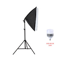 Bộ đèn studio chụp ảnh sản phẩm, quay phim, livestream chuyên nghiệp, bộ gồm chân đèn 2m kèm softbox 50x70cm, bóng đèn Led Bulb thumbnail