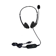 USB Plug Corded Headset Hands-Free Binaural Headphone with Noise Cancelling Microphone Mute Volume Control Button for thumbnail