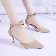Giày Cao Gót Nữ Đẹp 5 Phân Da Lộn Bít Đầu Mũi Nhọn Phối Nơ Ngọc Phong Cách Hàn Quốc. thumbnail