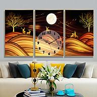 Tranh treo tường, tranh đồng hồ NT224 bộ 3 tấm ghép thumbnail