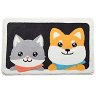 Thảm Lau Chân Lông Xù Chống Trượt Hình Shiba Và Husky 45x65cm thumbnail