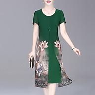 Đầm Váy Trung Niên Dáng Dài Dạng Đầm Suông BigSize Quý Bà Phối 3 Nút In Hoa - Thời Trang Trung Niên Nữ GOTI 3296D thumbnail