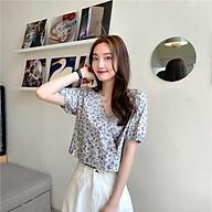 Áo kiểu Voan hoa nữ Ngắn tay Tay bổng Vạt chéo Cổ tim Ulzzang Hàn Quốc Áo kiểu nữ Voan hoa Cổ V Tay phồng thumbnail
