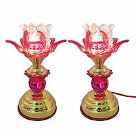 Bộ 2 đèn thờ hoa sen đỏ pha lê thân cao 23cm VDN07 thumbnail
