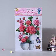 Bình hoa 3D trang trí phòng khách, quán cafe, tủ lạnh- Bình hoa hồng hồng thumbnail