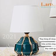 Đèn ngủ gốm xanh tròn viền vàng sang trọng, hiện đại DS-TL9714 thumbnail