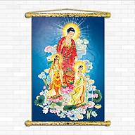Tranh Phật giáo - Tây Phương Tam Thánh, Chất liệu vải canvas nẹp sáo gỗ, nhiều size , nhiều mẫu hình ảnh sắc nét rực rỡ chân thực. thumbnail
