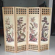 bình phong khung gỗ nền mành tứ quý màu sáng thumbnail