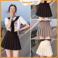 Chân váy Tennis lưng cao xếp ly có lót trong - Chân váy ngắn màu Trắng Đen Caro SchoolF thumbnail