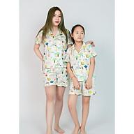 Pijama mặc nhà mẹ và bé màu trắng hình thú thumbnail