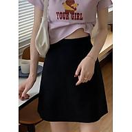 Chân Váy Chữ A Trơn Vải Đũi Chéo Freesize 53kg - CV.005 thumbnail