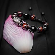 Vòng tay phong thủy thời trang handmade đá mắt hổ đỏ và đá đen kinh tự Om Mani dây đan shamballa phật giáo thumbnail