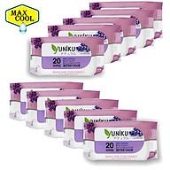 Combo 10 Gói Khăn Ướt Yuniku 20 Tờ Hương Lavender ( 20 Tờ x 10 ) thumbnail