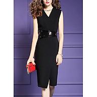 Đầm ôm cổ đắp chéo kiểu đầm ôm dự tiệc đính kim sa xẻ tà trước ROMI3043 thumbnail