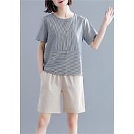 quần short nữ lưng chun dáng đứng chất vải đũi thumbnail