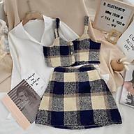 Set Đồ Nữ, Áo Croptop Caro Kèm Chân Váy Áo Sowmi Trắng Phôí Cực Xinh Phong Cách Trẻ Trung thumbnail
