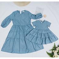 Đầm Tầng Cao Cấp Xanh Đá cho Mẹ và Bé Gái chuẩn form cực xinh - SB27 (giá hiển thị của 1 đầm) thumbnail