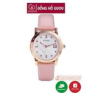 Đồng hồ nữ đeo tay dây da Guou viền mạ vàng chính hãng chống nước tuyệt đối 8086 thumbnail