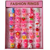 Hộp 50 chiếc nhẫn thời trang cho bé gái- Hộp 50 nhẫn xinh xắn nhiều màu sắc cho bé gái + Tặng hình dán thumbnail