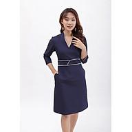 Váy đầm dáng ôm thời trang Eden cổ v tay lỡ viền màu, kiểu dáng sang trọng, chất liệu mềm mại không nhăn - D390 thumbnail