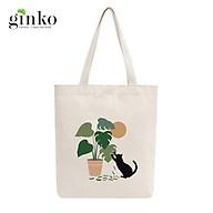 Túi Tote Vải Mộc GINKO Dây Kéo In Hình Cat With Leaf M11 thumbnail