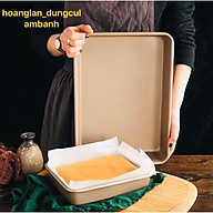 Khay, khuôn nướng bánh hình chữ nhật chống dính sâu lòng màu vàng( Hàng cao cấp) 28 23 5cm thumbnail