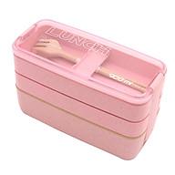 Hộp Cơm 3 Tầng Lúa Mạch Lunch Box + Tặng Kèm Muỗng, Nĩa - Giao màu ngẫu nhiên thumbnail