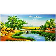 Tranh thêu chữ thập Phong Cảnh Làng Quê (91 52cm) chưa thêu thumbnail