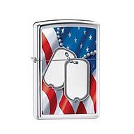 Bật Lửa Zippo Flag And Dog Tags Polished Chrome Chính Hãng Usa thumbnail