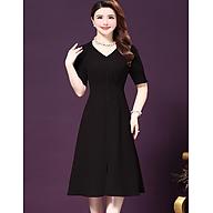 Đầm trung niên chun eo đính cúc - DS 213 thumbnail